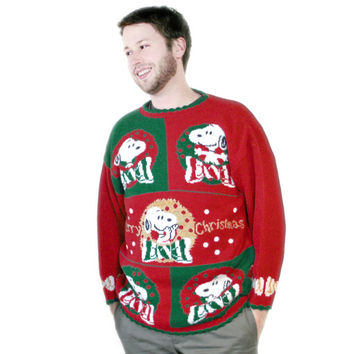 Vintage 80s Peanuts Snoopy Sparkle Acrylic Ugly Christmas Sweater - The Ugly Sweater Shop