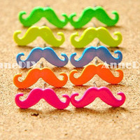 Mustache Earring - colorful Mustache Charm, Pirates beard, Beard Earring, Stud Earrings, Cute candy Earring, Cheap Gift