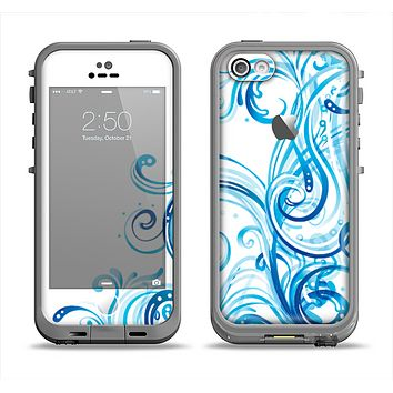 The Swirly Vector Water-Splash Pattern Apple iPhone 5c LifeProof Fre Case Skin Set