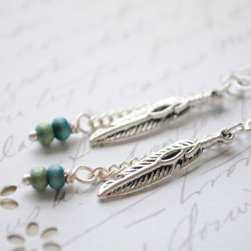 Light as a Feather Silver Feather earrings by littlejarofhearts