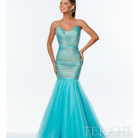 Terani 151P0106 Aqua & Nude Illusion Trumpet Dress 2015 Prom Dresses