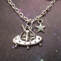 UFO Alien star necklace choker or long necklace