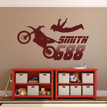 Motocross Wall Decal, Motocross Decor, Dirt Bike Wall Decal, Boys Wall Decal, Boys Motocross, Personalized Wall Decal
