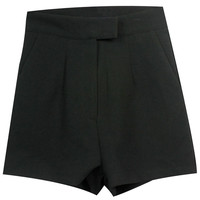 ROMWE | Concealed Button Black Shorts, The Latest Street Fashion