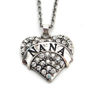 Retro Nana Grandma Grandmother Silver Heart Pendant Necklace Rhinestone Alloy Fashion Jewelry + Free Gift Box = 1946017604