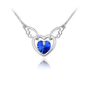 Silver Crystal Heart Shape Pendant Necklace