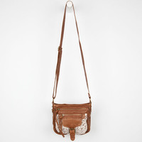 Crochet Trim Pocket Crossbody Bag Cognac One Size For Women 24210540901