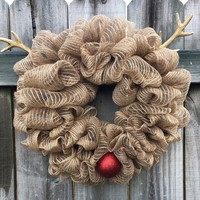 Rustic Christmas REINDEER Mesh Outdoor Front Door Wreath; Door Hanger, Burlap