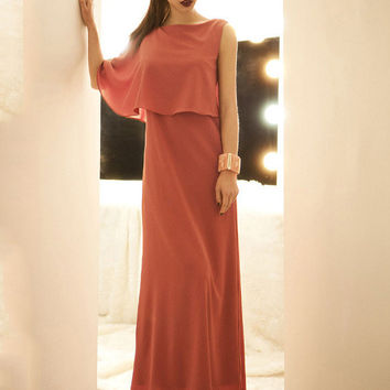 One Cape Sleeve Chiffon Maxi A-line Dress