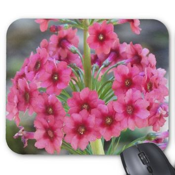 Red Primula Floral Mouse Pad