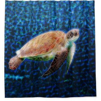 Sea Turtle Fractal Art Shower Curtain