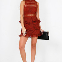 Layered Ruffle Dress - Rust
