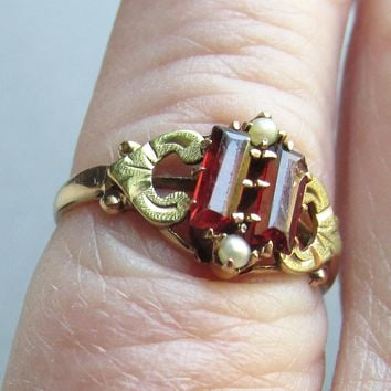 Antique Victorian 10k Gold Signed Ostby Barton Bohemian Garnet & Seed Pearl Ring