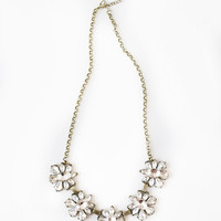 Daisy Crystal Flower Statement Necklace