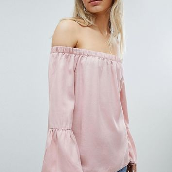 Only Off Shoulder Flare Sleeve Top at asos.com
