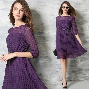 ONETOW Chiffon Elegant Round-neck Plaid One Piece Dress [10356946637]