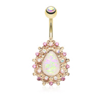 White Opal Sparkly Golden Eirene Opal Belly Button Ring 14ga Navel Ring Body Jewelry