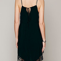 Black V-neck Strappy Lace Hem Asymmetric Vest Dress