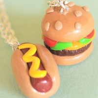 Hot Dog and Cheeseburger Best Friend Necklaces  - Whimsical & Unique Gift Ideas for the Coolest Gift Givers