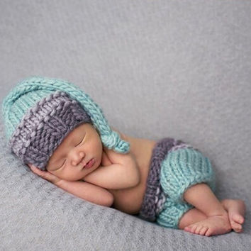 0-4M Infant Photo Props Newborn Baby Girls Boys Crochet Knit Costume Photo Photography Prop Pants and Hat