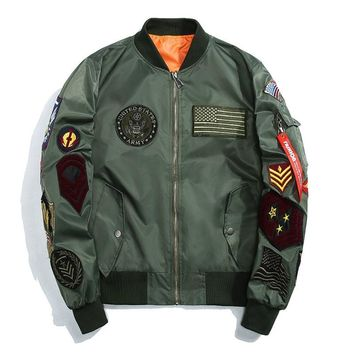 MORUANCLE Fashion Mens Hip Hop Varsity Letterman Baseball Jacket Streetwear Flight Bomber Jackets With Patches Plus Size M-5XL