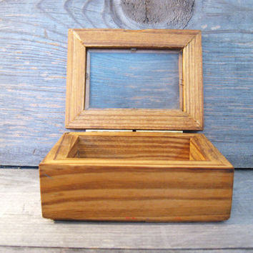 Vintage Wood Box * Glass Top * Small Treasure Box