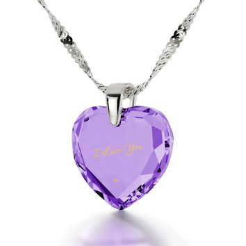 """""""I Love You"""", 925 Sterling Silver Necklace, Cubic Zirconia"""