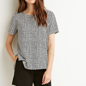 Contemporary Abstract Print Top | LOVE21 - 2000222232