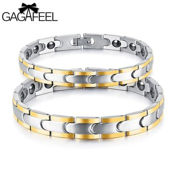 Gagafeel Stainless Steel Business Health Charm Bangles For Man Woman Titanium Magnetic