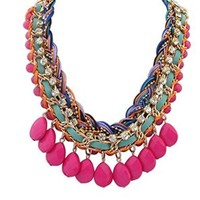 Women's Water-Drop Multi Braided Twist Stone Bohemia Collar Necklace Rose Red)