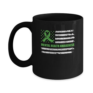 Green Ribbon Mental Health Awareness US Flag Mug