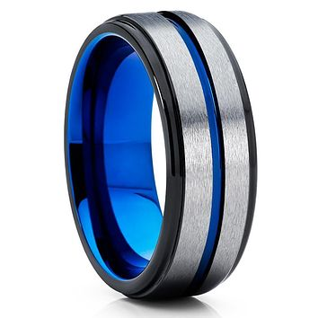 Blue Tungsten Ring - Grey Wedding Band - Blue Tungsten Band - Men's Ring
