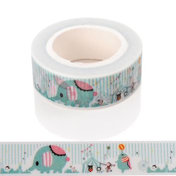 1 Pc / Pack New Diy Cute Cartoon Elephant Washi Tape Sticker Paper For Scrapbooking Decoration Stationery Free Shipping