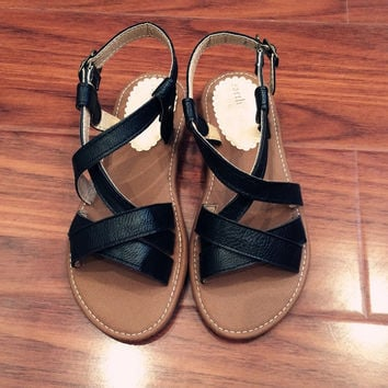 Black Leather Flat Beach Slippers Sandals