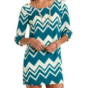 Chevron Print Chiffon Shift Dress by Charlotte Russe - Jade Combo