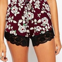 ASOS PETITE Shorts In Floral Print And Lace Hem