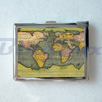 Map of the World Cigarette Case with Lighter, Cigarette Box, Card Holder