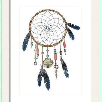 Watercolor Dream Catcher Print, Decorative Wall Decor, Native American Wall Art, Turquoise and Coral, Giclee Print