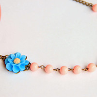 Pink beaded adjustable necklace with blue flower, antique brass chain necklace, gift for her necklace, wedding necklace, bridesmaid necklace