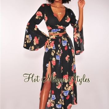 Midnight Floral Gauze Tie Up Bell Sleeves Palazzo Two Piece Set