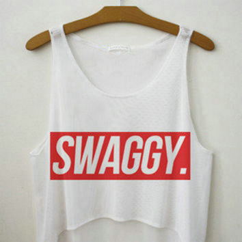 Women's Swaggy Supreme Printed Cute Sexy Girl Summer Cropped Sports Harajuku Style Camisole Youth White Tank Top Crop Top