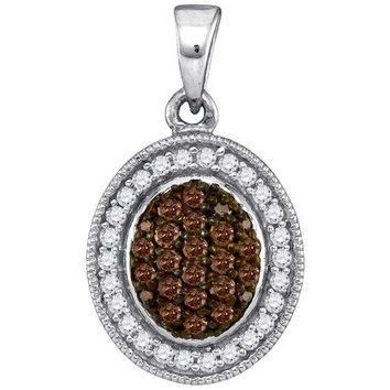 Cognac Diamond Micro-pave Pendant in 10k White Gold 0.35 ctw