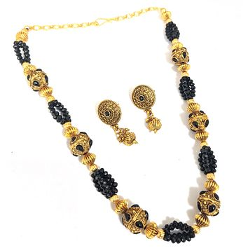 Antique gold finish charm with crystal bead chain necklace and stud earring set