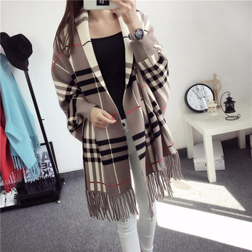 Plaid Knitted Sweater Cardigan Coat Autumn