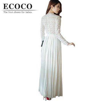 DCCKWQA S Brand Brief Long Sleeve Floor-length Lace Hollow Patch Maxi X-long White Red Spring Summer Dress Pleated Evening Party Xl D172