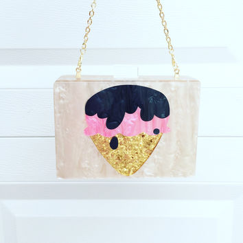 Champagne Pearl Lucite Clutch with Ice Cream