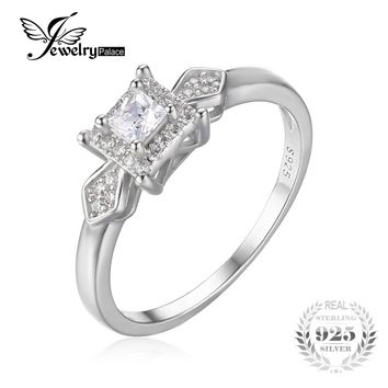 JewelryPalace Exquisite 0.4ct  Princess-Cut Cubic Zirconia Wedding Anniversary Woman Fashion Ring 925 Sterling Silver Jewelry