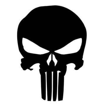 9.5*14CM PUNISHER Skull Film Classic Car Stickers Motorcycle Decals Car Accessories Black/Silver C2-0127