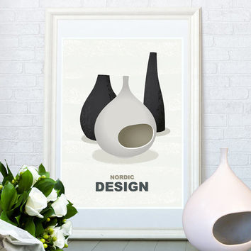 Nordic design art print, Stig Lindberg vases, Mid century modern poster, Kitchen decor, Living room wall art
