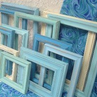 Shabby Chic Painted Picture Frames Aqua by MountainCoveAntiques
